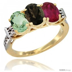 10K Yellow Gold Natural Green Amethyst, Smoky Topaz & Ruby Ring 3-Stone Oval 7x5 mm Diamond Accent