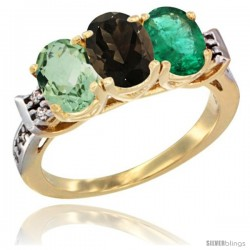 10K Yellow Gold Natural Green Amethyst, Smoky Topaz & Emerald Ring 3-Stone Oval 7x5 mm Diamond Accent
