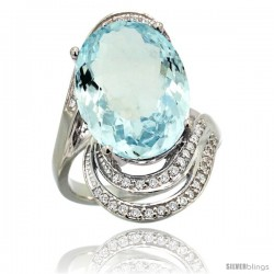 14k White Gold Natural Aquamarine Ring 16x12 mm Oval Shape Diamond Halo, 1 in
