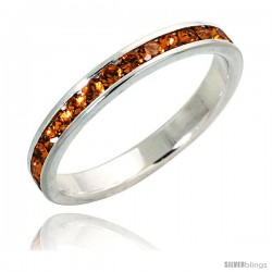 "Sterling Silver Eternity Band, w/ November Birthstone, Citrine Crystals, 1/8"" (3 mm) wide"