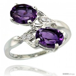 14k White Gold ( 8x6 mm ) Double Stone Engagement Amethyst Ring w/ 0.04 Carat Brilliant Cut Diamonds & 2.34 Carats Oval Cut