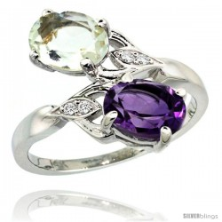 14k White Gold ( 8x6 mm ) Double Stone Engagement Purple & Green Amethyst Ring w/ 0.04 Carat Brilliant Cut Diamonds & 2.34