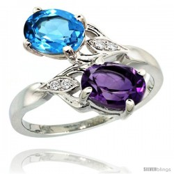 14k White Gold ( 8x6 mm ) Double Stone Engagement Amethyst & Swiss Blue Topaz Ring w/ 0.04 Carat Brilliant Cut Diamonds & 2.34