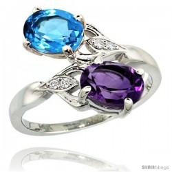 14k White Gold ( 8x6 mm ) Double Stone Engagement Amethyst & Swiss Blue Topaz Ring w/ 0.04 Carat Brilliant Cut Diamonds & 2.34