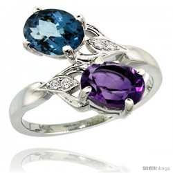 14k White Gold ( 8x6 mm ) Double Stone Engagement Amethyst & London Blue Topaz Ring w/ 0.04 Carat Brilliant Cut Diamonds & 2.34