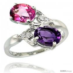 14k White Gold ( 8x6 mm ) Double Stone Engagement Amethyst & Pink Topaz Ring w/ 0.04 Carat Brilliant Cut Diamonds & 2.34 Carats