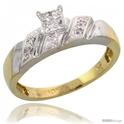 10k Yellow Gold Diamond Engagement Ring 0.07 cttw Brilliant Cut, 3/16 in wide -Style 10y016er