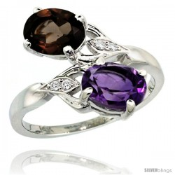 14k White Gold ( 8x6 mm ) Double Stone Engagement Amethyst & Smoky Topaz Ring w/ 0.04 Carat Brilliant Cut Diamonds & 2.34