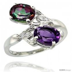 14k White Gold ( 8x6 mm ) Double Stone Engagement Amethyst & Mystic Topaz Ring w/ 0.04 Carat Brilliant Cut Diamonds & 2.34