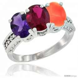 14K White Gold Natural Amethyst, Ruby & Coral Ring 3-Stone 7x5 mm Oval Diamond Accent