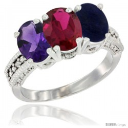 14K White Gold Natural Amethyst, Ruby & Lapis Ring 3-Stone 7x5 mm Oval Diamond Accent