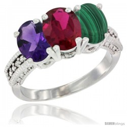 14K White Gold Natural Amethyst, Ruby & Malachite Ring 3-Stone 7x5 mm Oval Diamond Accent