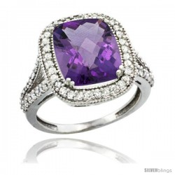 14k White Gold Diamond Halo Amethyst Ring Checkerboard Cushion 12x10 4.8 ct 3/4 in wide -Style Cw401148