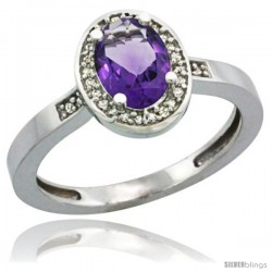 14k White Gold Diamond Amethyst Ring 1 ct 7x5 Stone 1/2 in wide