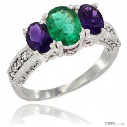 14k White Gold Ladies Oval Natural Emerald 3-Stone Ring with Amethyst Sides Diamond Accent