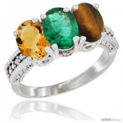 14K White Gold Natural Citrine, Emerald & Tiger Eye Ring 3-Stone 7x5 mm Oval Diamond Accent