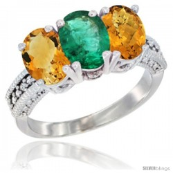 14K White Gold Natural Citrine, Emerald & Whisky Quartz Ring 3-Stone 7x5 mm Oval Diamond Accent