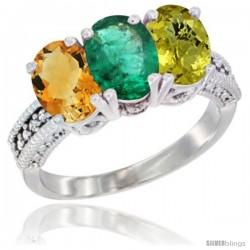 14K White Gold Natural Citrine, Emerald & Lemon Quartz Ring 3-Stone 7x5 mm Oval Diamond Accent