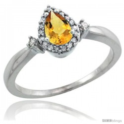 14k White Gold Diamond Citrine Ring 0.33 ct Tear Drop 6x4 Stone 3/8 in wide