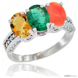 14K White Gold Natural Citrine, Emerald & Coral Ring 3-Stone 7x5 mm Oval Diamond Accent
