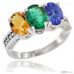 14K White Gold Natural Citrine, Emerald & Tanzanite Ring 3-Stone 7x5 mm Oval Diamond Accent