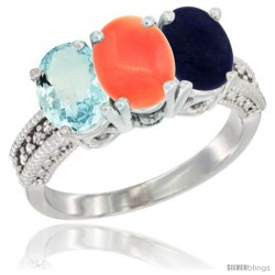 10K White Gold Natural Aquamarine, Coral & Lapis Ring 3-Stone Oval 7x5 mm Diamond Accent
