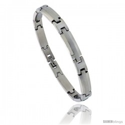 Stainless Steel Satin Finish Center Bar Bracelet, 1/4 in wide, 8.5 in long