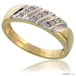 10k Yellow Gold Mens Diamond Wedding Band Ring 0.05 cttw Brilliant Cut, 1/4 in wide