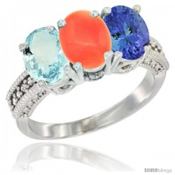10K White Gold Natural Aquamarine, Coral & Tanzanite Ring 3-Stone Oval 7x5 mm Diamond Accent