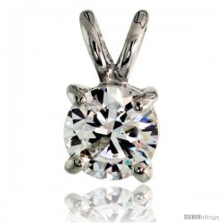 "Sterling Silver Basket Set Round Stone Rabbit Bale Pendant, 6mm Brilliant Cut CZ Stone, 7/16 in tall, 18"" Thin Box Chain"