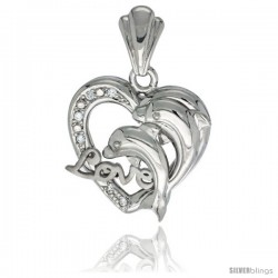 Sterling Silver DOLPHINS HEART LOVE Pendant CZ Stones Rhodium Finished, 3/4 in long