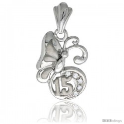 Sterling Silver Quinceanera 15 ANOS Butterfly Pendant CZ Stones Rhodium Finished, 7/8 in long