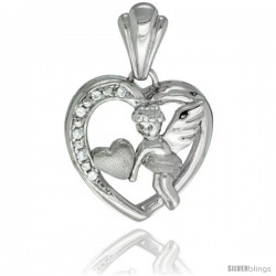 Sterling Silver Cupid Pendant CZ Stones Rhodium Finished, 25/32 in long