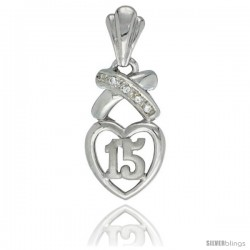 Sterling Silver Quinceanera 15 Anos Pendant w Hearts and Kisses CZ stones Rhodium Finished, 3/4 in long