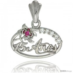 Sterling Silver Quinceanera 15 ANOS Flower Pendant CZ Stones Rhodium Finished, 15/32 in long