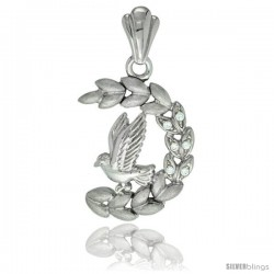 Sterling Silver Dove on Olive Branch Pendant CZ Stones Rhodium Finished, 1 1/8 in long
