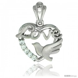 Sterling Silver LOVE w/ Dove Heart Pendant CZ Stones Rhodium Finished, 3/4 in long
