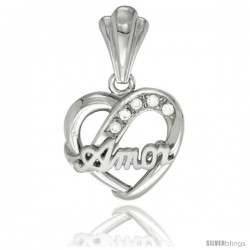 Sterling Silver AMOR Heart Pendant CZ Stones Rhodium Finished, 5/8 in long