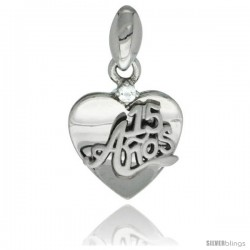 Sterling Silver Quinceanera 15 ANOS Heart Pendant CZ Stones Rhodium Finished, 5/8 in long