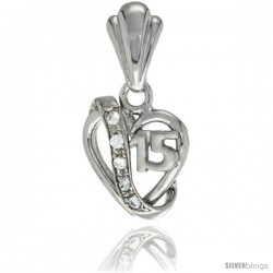 Sterling Silver Quinceanera 15 ANOS Heart Pendant CZ Stones Rhodium Finished, 19/32 in long