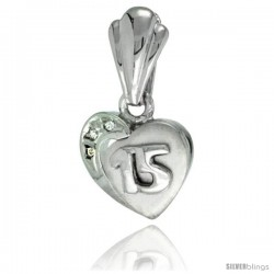 Sterling Silver Quinceanera 15 ANOS Heart Pendant CZ Stones Rhodium Finished, 15/32 in long