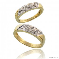 10k Yellow Gold Diamond Wedding Rings 2-Piece set for him 6 mm & Her 5 mm 0.08 cttw Brilliant Cut