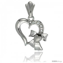 Sterling Silver Heart w/ Bow Heart Pendant CZ Stones Rhodium Finished, 13/16 in long