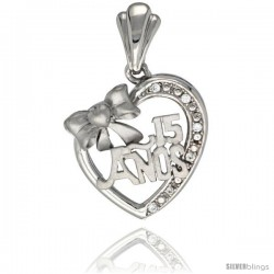 Sterling Silver Quinceanera 15 ANOS w/ Bow Heart Pendant CZ Stones Rhodium Finished, 29/32 in long