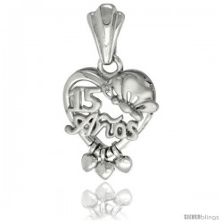 Sterling Silver Quinceanera 15 ANOS w/ Butterfly Triple Hearts Pendant Rhodium Finished, 25/32 in long