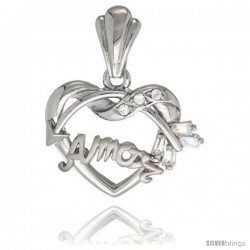 Sterling Silver AMOR w/ Cupid's Bow Pendant CZ Stones Rhodium Finished, 3/4 in long