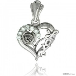 Sterling Silver LOVE Rose Heart Pendant CZ Stones Rhodium Finished, 13/16 in long