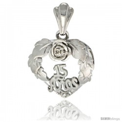 Sterling Silver Quinceanera 15 ANOS Heart Wreath Pendant CZ Stones Rhodium Finished, 13/16 in long