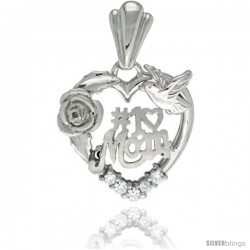 Sterling Silver No. 1 Mom Pendant CZ Stones Rhodium Finished, 25/32 in long