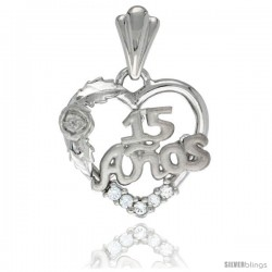 Sterling Silver Quinceanera 15 ANOS Rose Pendant CZ Stones Rhodium Finished, 25/32 in long